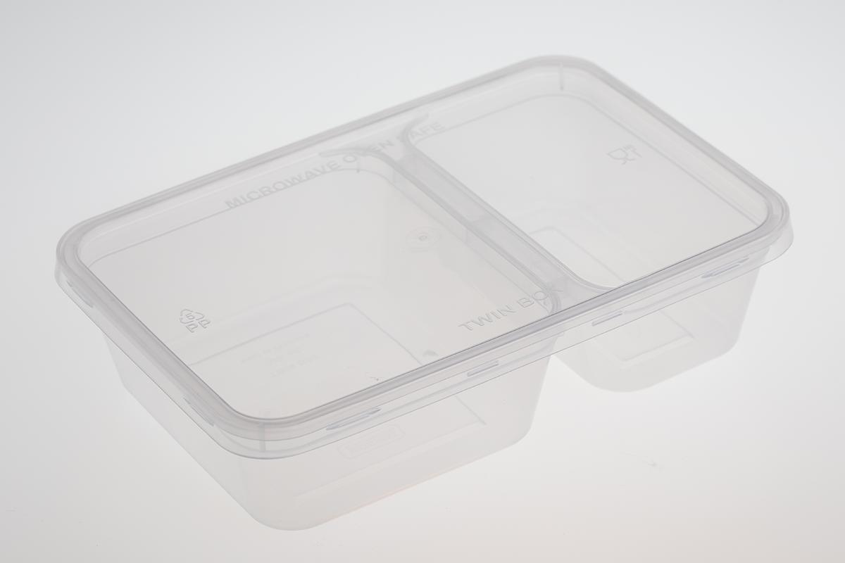 กล่องอาหารพลาสติกทรงสี่เหลี่ยม 2 ช่อง สีใส