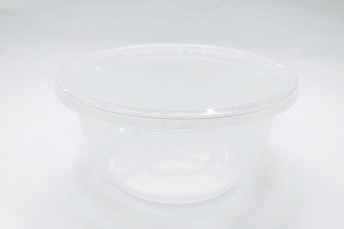 กล่องอาหารทรงกลม มีขอบ 425 ml. สีใส