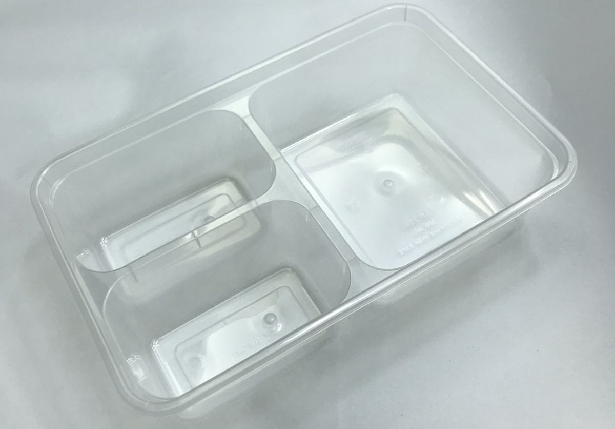 กล่องอาหารพลาสติกทรงสี่เหลี่ยม 3 ช่อง ใหญ่