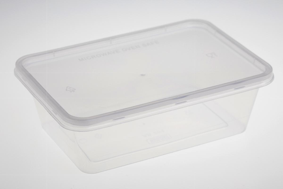 กล่องอาหารพลาสติกทรงสี่เหลี่ยม 1 ช่อง