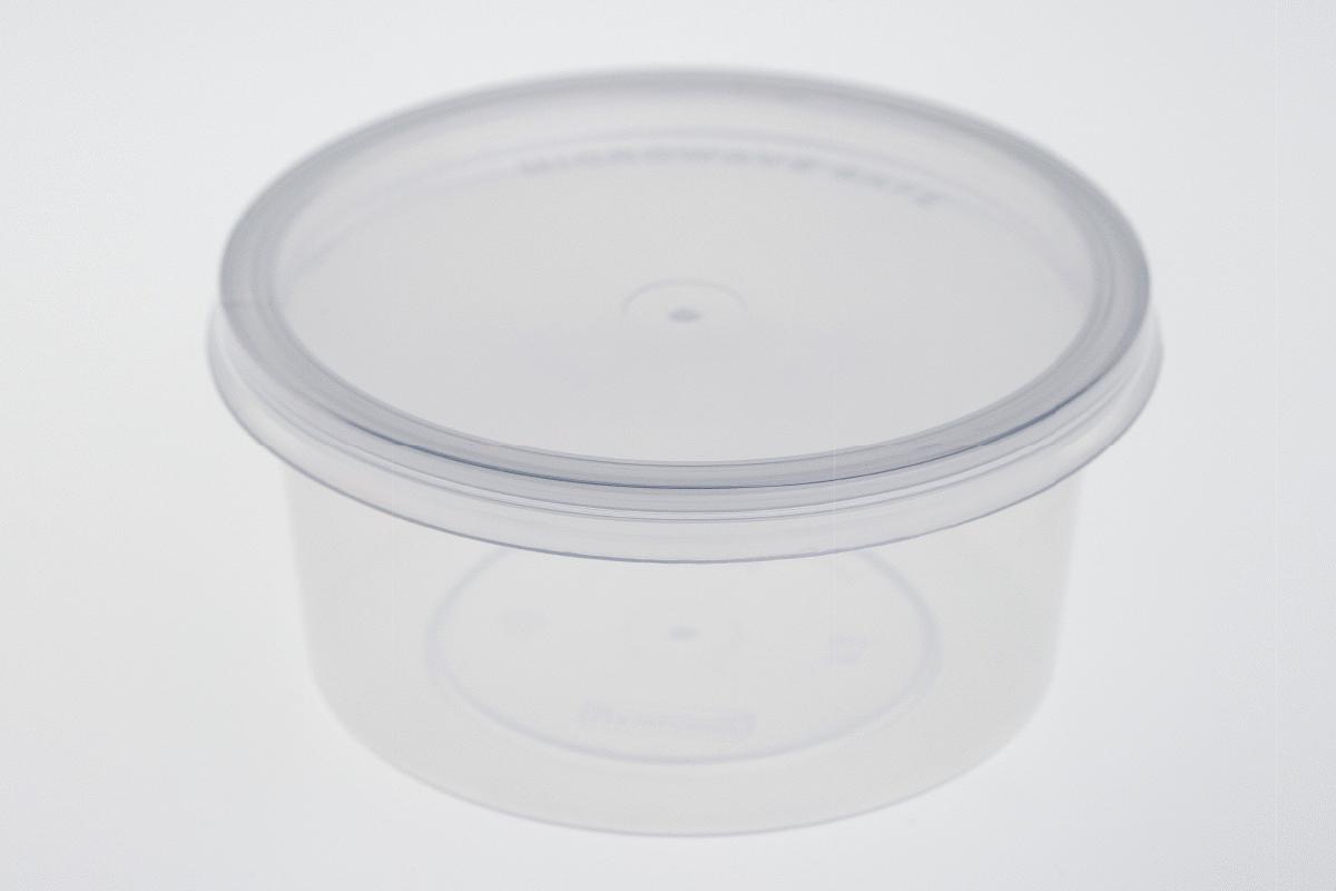 กล่องอาหารพลาสติกทรงกลม สีใส