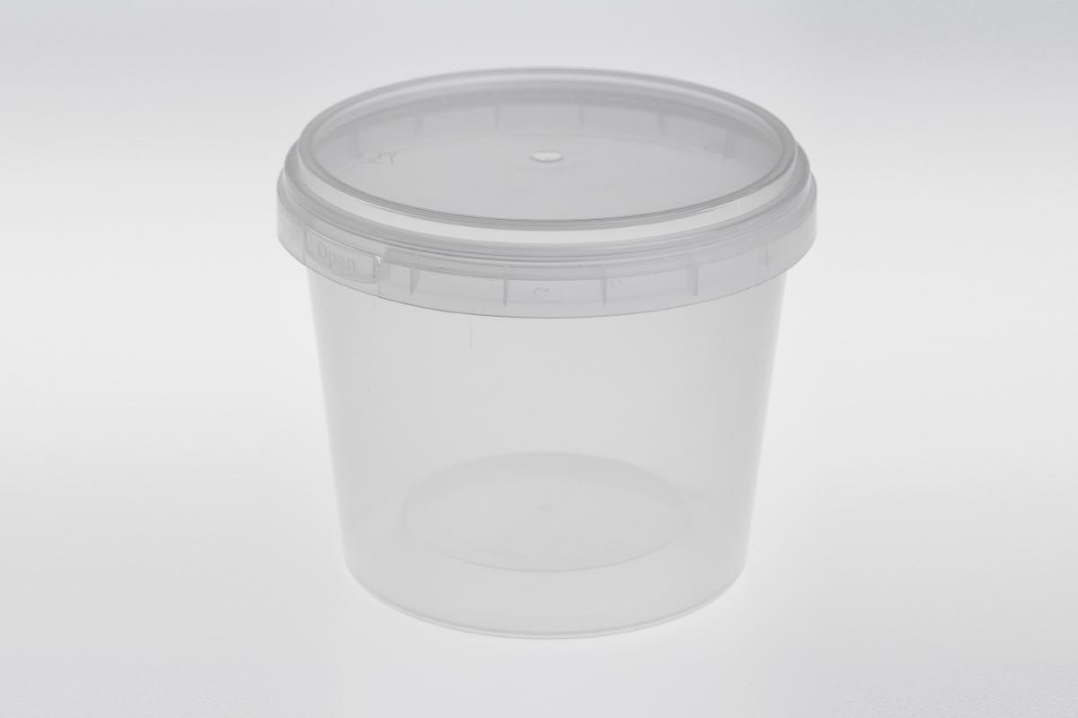 กล่องอาหารพลาสติกทรงกลม ฝาล็อค สีใส